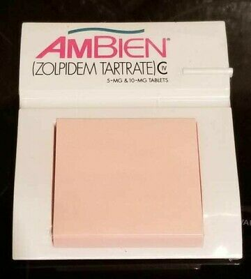 RARE New SEALED AMBIEN Drug Rep Pharma Notepad Post-its Notes Holder Tray
