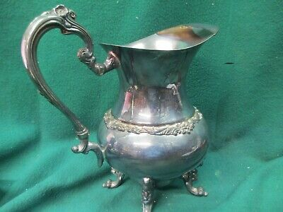 Vintage Sheridan Silver Plated Footed Water Wine Pitcher Milk Jug Ice Guard