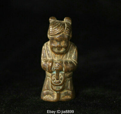 Old Chinese Folk Bronze Copper Seat Wealth Money Palace girl Tong zi Statue