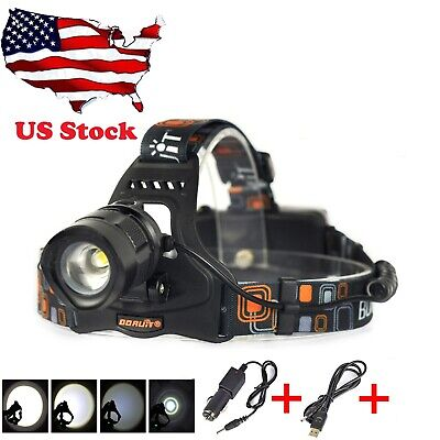 BORUiT XML2 LED Zoomable Headlamp USB Headlight Torch 18650 Rechargeable 5 Modes