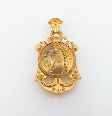 .Late c1800s Pinchbeck Sailors Sweetheart Pendant With Original Tin Photo Inside