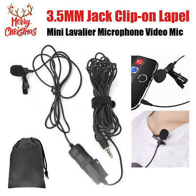 6m Lavalier Microphone 3.5mm Lapel Clip-on Mic for iPhone & Android Smartphones