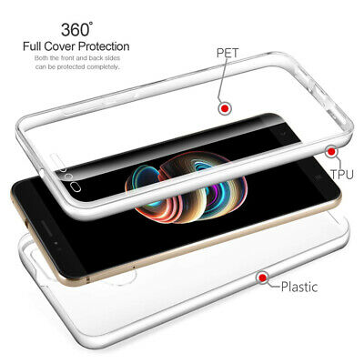 360 Case For Samsung A70 A60 A40S  A750 Clear Soft TPU Front+Hard PC Black Cover