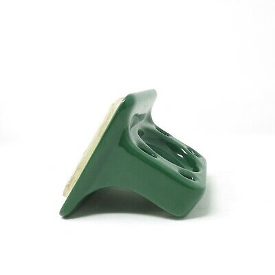 Vintage Dark Green Ceramic Wall Mount Toothbrush Cup Holder Retro Bathroom