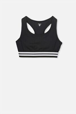 Cotton On Kids Girls Core Racer Back Crop Top Free Tops  In  Black