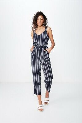 Cotton On Womens Woven Jillian Strappy Jumpsuit Dresses  In  Blue