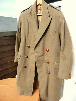Original British Army Officers Warm, Officers Wool Greatcoat, Leather Buttons