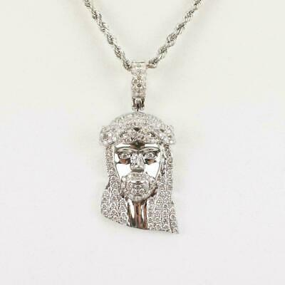 10k Real White Solid Gold Jesus Face Piece Diamond Pendant Charm 1.00 Carat
