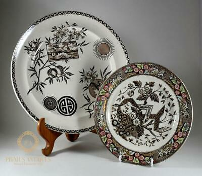 Two Antique Victorian Aesthetic Movement Plates By Wedgwood & Burgess & Leigh