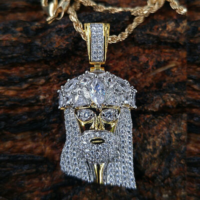 10k Real Yellow Solid Gold Jesus Face Piece Diamond Pendant Charm 2.50 Carat