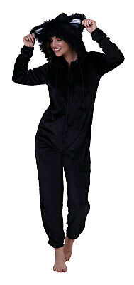 Womens Black Cat 1Onesie All In One Hooded Fleece Novelty Xmas Jumpsuit Onezee