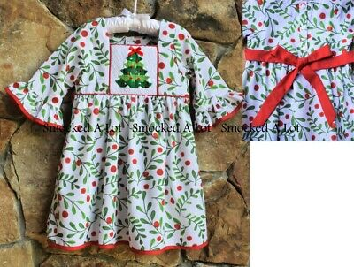 Smocked A Lot Girls Christmas Tree Red Green Plaid Bishop Dress Santa Outfit