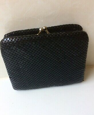 Vintage Black Gold Glomesh Tri Fold Wallet And Coin Purse - Credit Card Slots