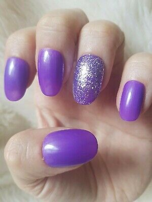20 Hand Painted False Nails. Purple Glitter Accent Nail. Pick Shape and Length.