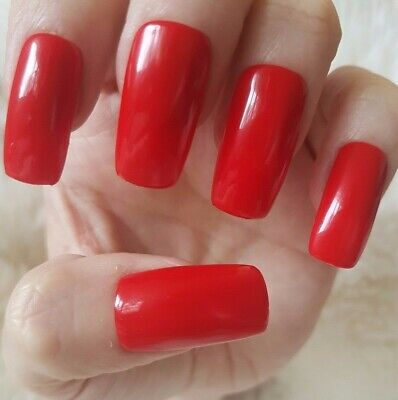 Hand Painted Red False Nails. 20 Long Square Press-on Nails. Glossy.