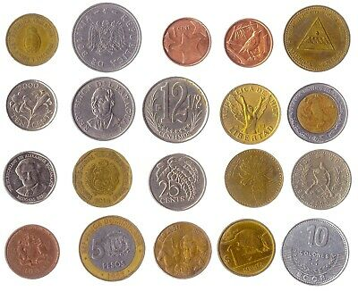 20 Different Coins From The Americas: Latin, Caribbean, Central, Northern, South