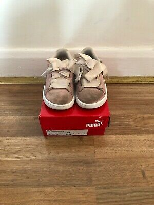 Infant Girl Puma Smash Ribbon Suede Baby Pink Trainers Shoes UK 8 EU 25