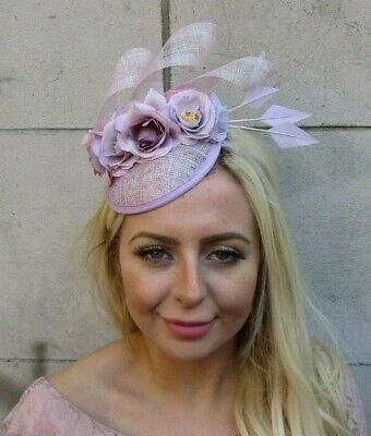 Light Lilac Purple Rose Floral Flower Feather Hat Hair Fascinator Sinamay 7756
