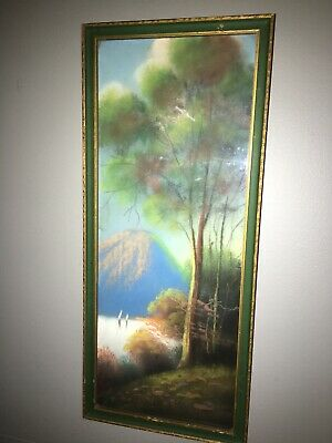 Antique Landscape Pastel? Chalk? Painting with frame No signature/reduced!