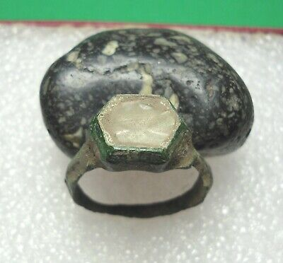 Ancient Roman Bronze Ring with Stone Original Authentic Antique Rare R839