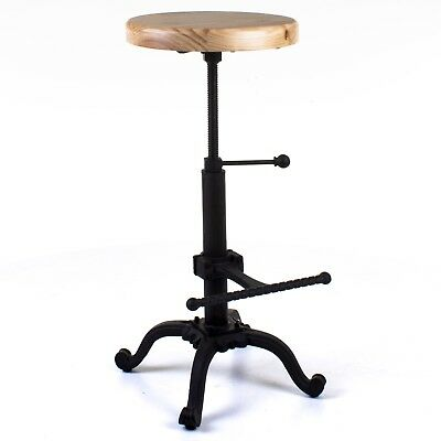 Industrial Bar Stool Round Wooden Seat Cast Iron Style Vintage Height Adjustable