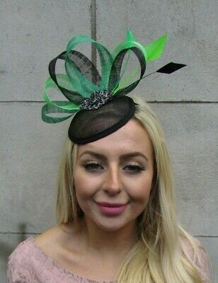 Black Emerald Lime Green Feather Pillbox Hat Fascinator Wedding Races Hair 7769