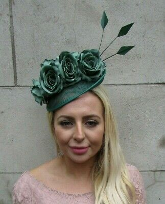 Dark Emerald Green Rose Flower Feather Disc Saucer Hat Fascinator Races 7771