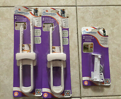 Dreambaby Safety Catches + Sliding Locks Childproof Cabinets&Drawers NEW SEALED