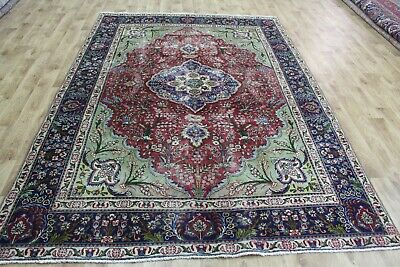 Old handmade Persian Tabriz carpet with floral design 280 x 197cm