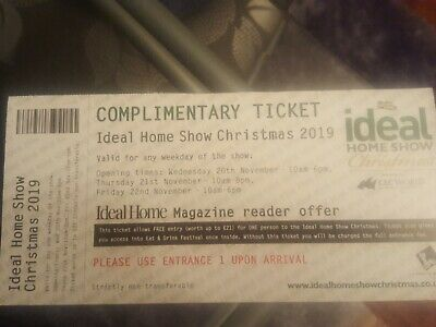 IDEAL HOME HOUSE SHOW CHRISTMAS OLYMPIA  LONDON Adult Ticket Valid Any Week Day