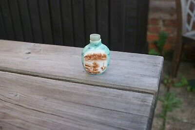 Vintage Hand Painted Perfume Bottles/Snuff Bottle Oriental Chinese Raised Design