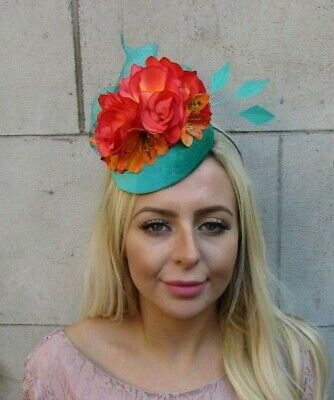 Orange Turquoise Sea Green Rose Flower Feather Hat Fascinator Races Hair 7775