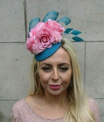 Blush Peach Pink Turquoise Teal Blue Flower Feather Hat Fascinator Hair 7776