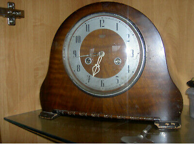 Vintage Deco Smiths Enfield Wooden Cased Pendulum Mantle Clock & Key WO