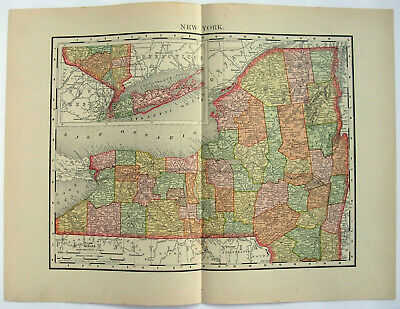 Original 1895 Map of New York State by Rand McNally. Antique