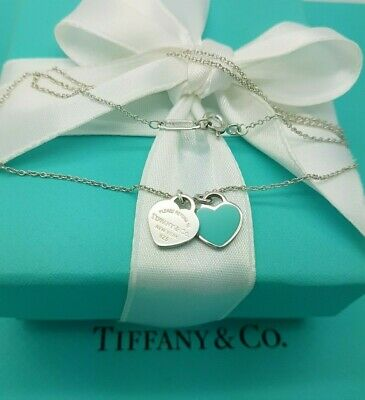 Return to Tiffany & Co. Enamel Double Mini Hearts Pendant Necklace in Silver