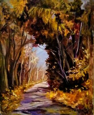 """FALL in the WOODS original oil on canvas  18x14"""" bold brushwork colorful intense"""