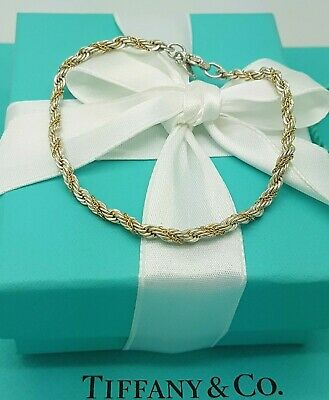 Tiffany & Co. Twist 18 Karat Yellow Gold and Silver Rope Bracelet 7.5 Inches