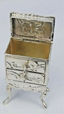 Silver miniature drawers on stand as a novelty ring box Chester 1904