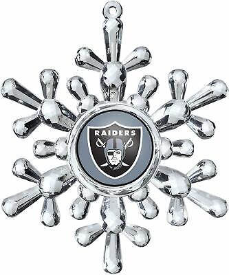 Oakland Raiders Football NFL Traditional Snowflake Christmas Tree Ornament
