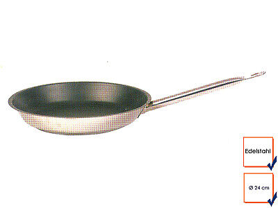 Pro Stainless Steel Frying Pan Grill Pan Non-Stick Ø 24cm