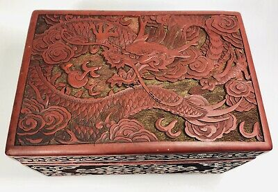 Antique 1920s Hand-Carved Red Cinnabar Dragon Trinket Box