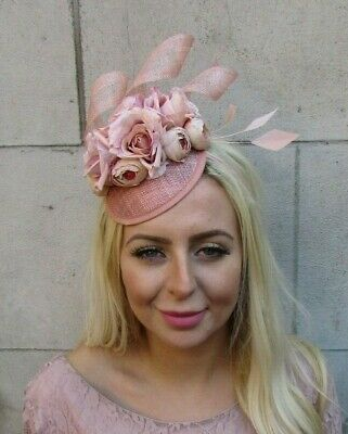 Nude & Beige Sinamay Rose Flower Feather Hat Fascinator Races Hair Floral 7796