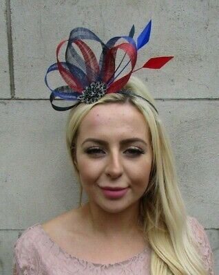 Navy Blue Red Royal Blue Black Sinamay Feather Hair Fascinator Wedding 7801