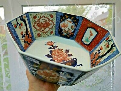 Large Antique Japanese Imari Meiji Porcelain Deep Bowl Hand Painted