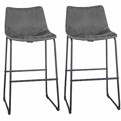 AmeriHome BSLCGSET Classic Gray Faux Leather Bar Chair Set