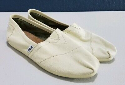Toms Women Classic Off White Espadrille Slip On Canvas Shoes Size 8.5