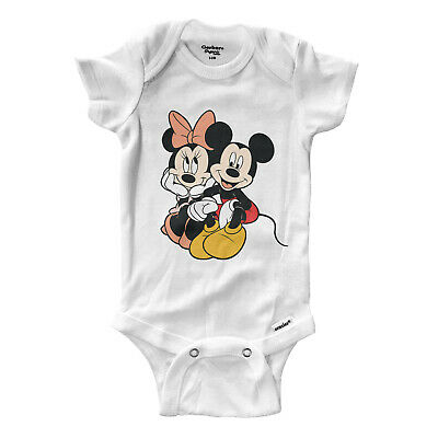 Minnie Mickey Mouse Couple Love Infant Gerber Onesies Bodysuit Baby Shower Gift