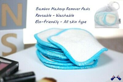 10pcs Reusable Washable Bamboo Makeup Remover Pads Wipes Eco Friendly Blue Edge