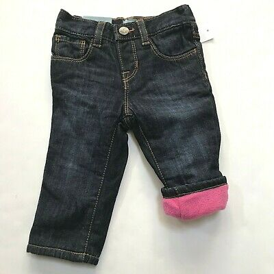 NWT $40 Baby GAP Girls Fleece-lined Pull-on Straight Denim Jeans 3T 3 Gray Pink
